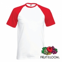 t-shirt rood/wit fruit of the loom